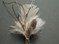 Twig and Ivory Feather Wedding Boutonniere