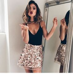 Trendy outfits, nye outfits, evening outfits, outfits for vegas, night outf Nye Outfits, New Years Eve Outfits, Evening Outfits, Night Outfits, Holiday Outfits, Skirt Outfits, Fashion Outfits, Sequin Skirt Outfit, Sequined Skirt