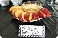 Poisoned Apple Dip Filled with fabulous Disney villains party ideas to throw the best Disney villains party. Included easy food ideas, decoration ideas and fun games for all. Villains Party, Disney Villains, Disney Halloween, Halloween Party, Halloween Villain, Halloween Ideas, Disney Dinner, 6th Birthday Parties, Birthday Ideas