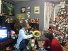 Josh, Josh Jr & Grandpa trying out new rocking horse & cowboy hat......   Video coming soon... ;)
