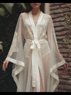 BOUDOIR dress - wedding day lace GOWN - bridal ROBE - morning lingerie - maternity - long beach tulle simple - sexy peignoir for photo shoot Sheer Lingerie, Pretty Lingerie, Luxury Lingerie, Vintage Lingerie, Beautiful Lingerie, Lingerie Dress, Mens Lingerie, Elegant Lingerie, Robes Glamour