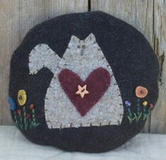 Abagail Cat Wool Pincushion by The Little Red Hen (lol we had the same idea for my couch...only her flowers are much smaller and mine marched across the top!! lol must be seeing too much of the same stuff!! )