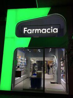 Pharmacy Design, Malaga, SPAIN, Farmacia Rincon de la Victoria, design by eficix Shop Signage, Signage Design, Shop Interior Design, Retail Design, Store Design, Cladding Design, Neon Box, Pharmacy Store, Sign Board Design