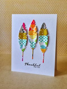 Different colors of washi tape on card stock, then die cut feathers. Different colors of washi tape on card stock, then die cut feathers. Washi Tape Cards, Washi Tape Diy, Masking Tape, Washi Tapes, Planner 2018, Feather Cards, Karten Diy, Tape Crafts, Creative Cards