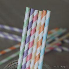 ** Nouveaux coloris ** Jolies pailles rétro  à rayure  couleurs pastel - 6 coloris by My Sweet Boutique