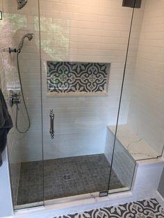 Shower with bench Bathroom Shower Walls, Master Bathroom Shower, Bathroom Makeover, Master Bathroom Renovation, Bathroom Interior, Bathroom Shower, Bathrooms Remodel