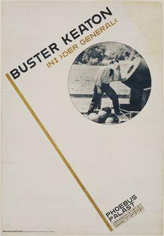 "Jan Tschichold. Buster Keaton in: ""Der General"". 1927. Offset lithograph. 47 x…"