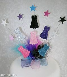 GLITTERED DRESSES BIRTHDAY CAKE TOPPER WITH FEATHERS | eBay