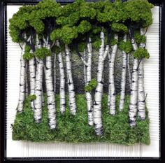 Dimensional Weaving - Martina Celerin fiber art: Portraits of Trees are on my mind Moss Wall Art, Moss Art, Weaving Art, Tapestry Weaving, Plant Wall, Plant Decor, Garden Art, Garden Design, Island Moos