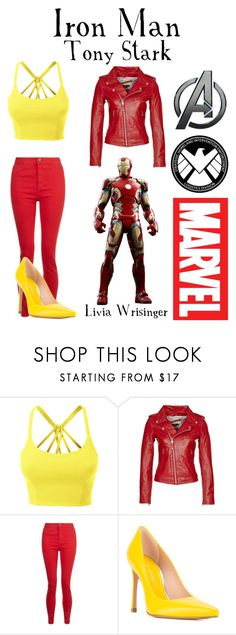 """Iron Man - Disney Bound"" by theliviafiles on Polyvore featuring LE3NO, Schott NYC, Stuart Weitzman and Marvel"