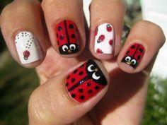 Ladybug nails cute!!!!