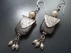 Hammered Silver Dangle Pearls Earrings Metalwork Beaded Earrings  Gray Marble Stone Fresh Water Pearls Earrings Sterling Silver Hooks