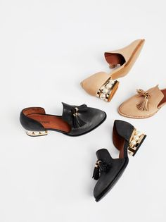 Georgie Slip-On Loafer | Suede or leather loafer with a refined design featuring a tassel detail at the upper with eye-catching embellished accents on the block heel for a femme flair. **Pink:** Suede **Black + Tan:** Leather