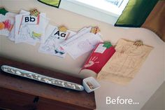 Before & After:  Kids Artwork Display Wall