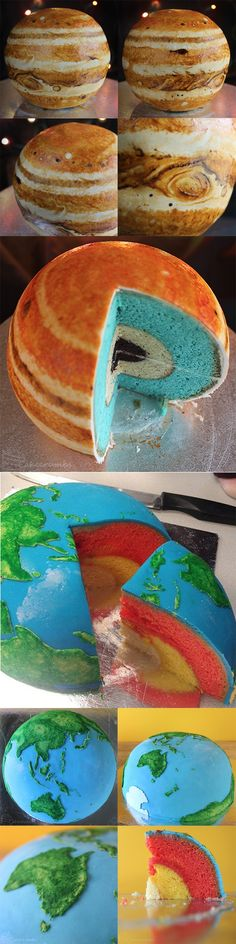 Planetary structural cakes by Cakecrumbs represent the various layers within Earth and Jupiter.