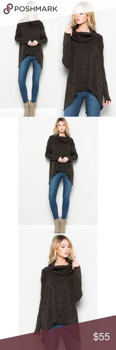 🆕 JUST IN 🆕 Long sleeve cowl neck sweater hi-low Long sleeve draped turtleneck high low sweater with open back slit. Cozy and cute. Charcoal is heathered - see close up shot.  Poly, rayon blend. Sweaters Cowl & Turtlenecks