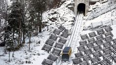 The specially designed barrel-shaped carriages rotate as it ascends precipitous mountain slopes.