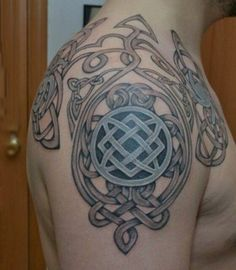 Nordic Tattoo With Shield Knot Males Arms