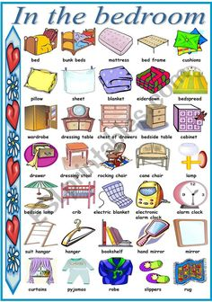 Learn English 503206958365946270 - Pictionary with vocabulary related to things we find in the bedroom. I hope you like it and find it useful. Have a nice evening/day. Source by bertrandlantign Learning English For Kids, Teaching English Grammar, English Worksheets For Kids, English Lessons For Kids, Kids English, English Writing Skills, English Vocabulary Words, Learn English Words, English Phrases