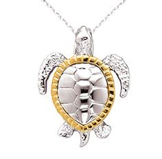 Silver Sea Turtle Necklace with 14kt Gold Accents at Artistgifts.com