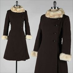 ➳ vintage 1960s coat    * chocolate brown wool  * mink fur trim  * rhinestone buttons  * silk crepe lining  * besom pockets    condition  