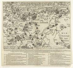 Baptista van Doetechum   Militaire campagnes van Maurits en Spinola in Overijssel en Zutphen, 1606, Baptista van Doetechum, 1606   De militaire campagnes van het Staatse leger onder prins Maurits en het Spaanse leger onder Spinola in Overijssel en Zutphen, juli-augustus 1606. Kaart van Oost-Nederland van het gebied tussen Arnhem, Groenlo, Coevorden en Zwolle waarop met letters de route van het Staatse leger en met cijfers dat van het Spaanse leger is aangegeven. Bovenaan een cartouche met de…