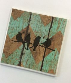 Rustic Coasters-Teal Wood Tile with Birds by LilHelpingHands