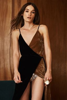 don't forget to wear sequins....sexy bicolored velvet wrap dress...