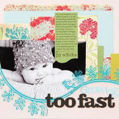 different designs and colors that normally would clash but pic makes it work Baby Scrapbook Pages, Project Life Scrapbook, Scrapbook Cards, Baby Crafts, Fun Crafts, Digital Scrapbooking Layouts, Scrapbook Layouts, Crate Paper, Baby Development