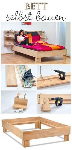 Build your own bed - Schlafzimmermöbel selber bauen - Bedding Master Bedroom Diy Furniture Redo, Pallet Furniture, Bedroom Furniture, Home Furniture, Furniture Design, Furniture Ideas, Small Furniture, Diy Platform Bed, Built In Bed