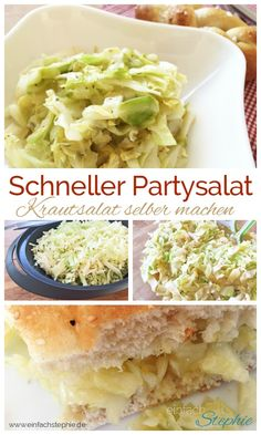 Schneller Partysalat. Krautsalat selber machen in 6 Minuten mit www.einfachstephie.de Homemade Coleslaw, Vegan Coleslaw, Large Salad Bowl, Salad Bowls, Party Salads, Vegetable Stock Cubes, Cabbage Salad, Breakfast Buffet, Salad Ingredients