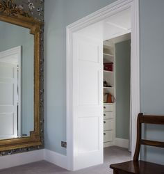 walk in wardrobe, georgian interiors, dublin home, archway, full height mirror, bespoke design, interior design ideas, Dublin #kingstonlaffertydesign #kld