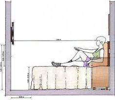 Imagini pentru altura e distancia cama tv