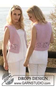 "Crochet DROPS waistcoat in ""Merino Extra Fine"" and ""Kid-Silk"". Size S - XXXL. ~ DROPS Design"