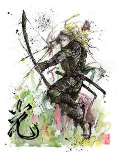 """remycks: """"Legolas from LotR samurai style :-) Calligraphy: Light (my mom experimented a little with her brush this time^^) """""""