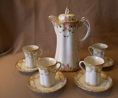 Antique Hot Chocolate Sets Germany | Nippon Hand-Painted 10-Piece Hot Chocolate Set w/Floral Decoration