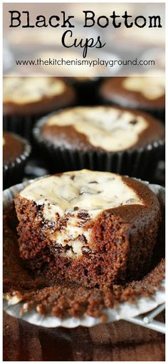 Black Bottom Cups ~ scratch-made chocolate cake bottoms topped with a chocolate chip cheesecake center.  Little bites of chocolate-&-cheesecake heaven!   www.thekitchenismyplayground.com