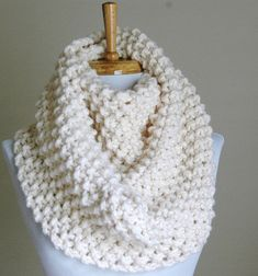 Chunky Hand Knit Infinity Scarf in Neutral Cream Winter White Original Design