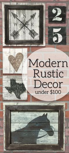 Modern Rustic Decor under $100, Farmhouse industrial decor, Rustic Gallery wall decor, Gallery wall decor, Farmhouse chic, Valentines gifts for him, Valentines gifts for her