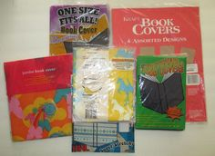 Stretchable Book Covers 9 Assorted Fabric Kraft Paper Horse Heart Flower Rainbow #Assorted