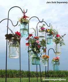 Mason Jar DIY Hanging Flower Vases or Lanterns 8 Gold or Silver Hanging Flower Lids,  No Jars. $32.00, via Etsy.