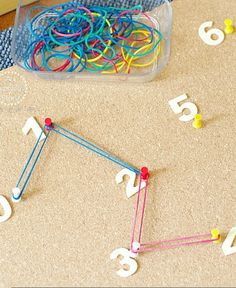 Number sequencing using a simple DIY geoboard | An Everyday Story - click through for more child-led homeschooling ideas