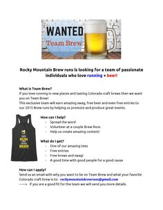 Team Brew! An easy way to get free stuff plus combine brews and running — Rocky Mountain Brew Runs