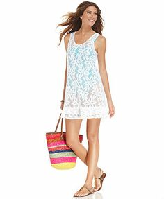 J Valdi Cover Up, Sheer Floral-Lace Tank Dress