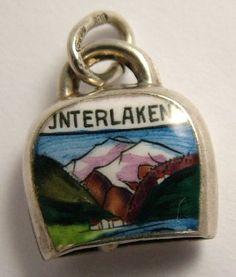 Interlaken Cowbell Silver & Enamel Charm - sandy's charms Cowbell, Charm Rings, Silver Enamel, Charms