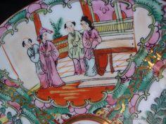 Gran plato de porcelana familia rosa de Macao China