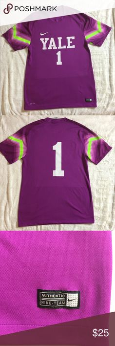 """Nike Dri-Fit T-Shirt """"Yale"""" Nike Dri-Fit T-Shirt.  """"Yale #1"""" Purple and Neon yellow.  There are some loose threads as shown in the pictures, but otherwise good used condition.  Size M  Measures 19.5"""" pit to pit.  Length is 29""""  Check out my other listings to bundle and save 🍑 Nike Tops Tees - Short Sleeve"""