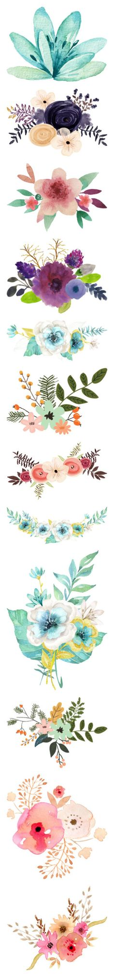 """Watercolor Bits & Botanicals"" by awsewell ❤ liked on Polyvore featuring flowers, backgrounds, fillers, extras, blue, detail, embellishment, decorations, floral and effect"