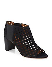 Shari Perforated Suede Open-Toe Booties