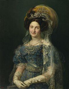 Maria Cristina de Borbón-Dos Sicilias, Queen of Spain, by Vicente López y Portaña.  Fourth wife of Fernando VII of Spain, she was also his niece, daughter of his sister Maria Isabel de Borbón.